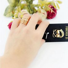 Golden Slender Finger Ring Set 6 Pieces Simple Party Accessory For Girls Newly Jewelry For Female