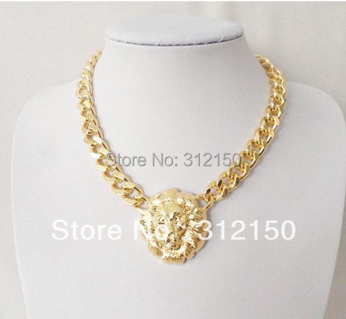 Fashion 2017 Heavy Lionhead Necklace Chunky Chain Thick Gold Silver Link Womens Queen Pendant Celebrity