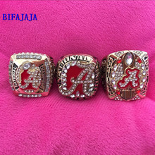 BIFAJAJA Drop Shipping 3 pcs/set NCAA 2009 2011 2015 Alabama Crimson Tide National Championship  replica rings size 11collection