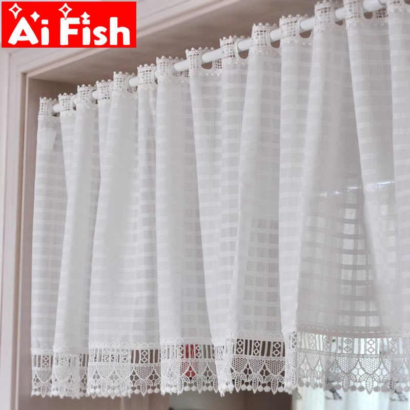Classic White Square lattice Coffee Half Curtain Europe Kitchen Small Short Curtain Water Soluble Lace Cabinet Partition A45-40
