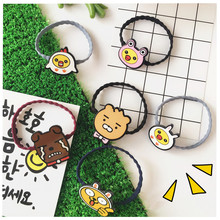 Korean cute little animal hair ring Harajuku soft adorable animal jewelry wavy elastic ring