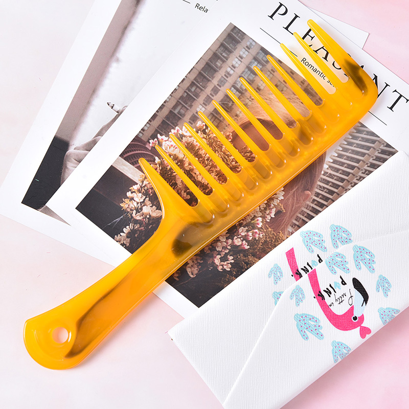 1Pc  24x6.5cm Randomly Color Wide Tooth Handle Hairdressing Salon Antistatic Plastic Hair Comb