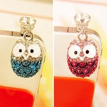 Lovely Big Eyes Owl Diamond Dust Plyg Diamond Pendants Universal Cell Phone Headset Plug Headphone Jack Plug Cellphone(China)