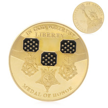 In God We Trust Medal of Honor Liberty Commemorative Challenge Coin Gold Plated APR25