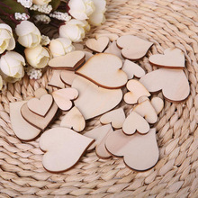 Cut 100pcs Wooden Love Heart shapes Laser Blank Embellishments Craft Card Decor Scrapbooking Craft Cards Wood Craft Decoration