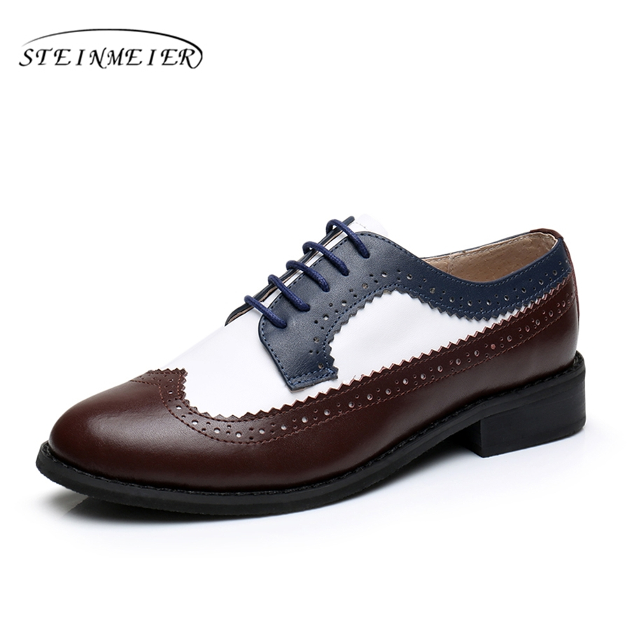 Cow leather oxford shoes for woman handmade flats brown white blue vintage big US 10 British style oxfords shoes for women fur<br>
