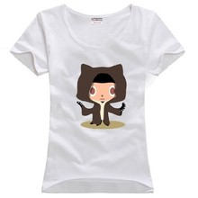 Octocat Github mascot anthropomorphized cat octopus limbs Linux Merb Ruby couple clothes woman women female cotton T-shirt(China)