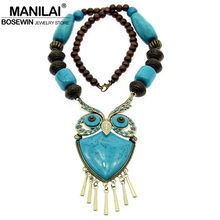 MANILAI Tibetan Style Fashion Women Statement Necklaces Wood Beaded Big Owl Necklaces & Pendants Boho Jewelry Maxi Accessories