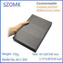 10 pieces a lot , 45*240*160mm 1.77*9.45*6.3inch , black color ,electronic aluminum box aluminium extrusion(China)