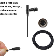 9-52V Phantom Power XLR Lavalier Clip-on Lapel Microphone For Mixer, PA systems, video camera  and Zoom  recorder