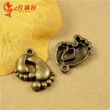 21*16MM Antique Bronze Retro foot baby feet charm bead mobile phone pendant DIY jewelry accessories wholesale make money selling