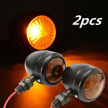 One Pair 12V 10W Yellow Retro Turning Lights Metal Steering Lights For Harley Chopper Cruiser Motorcycles