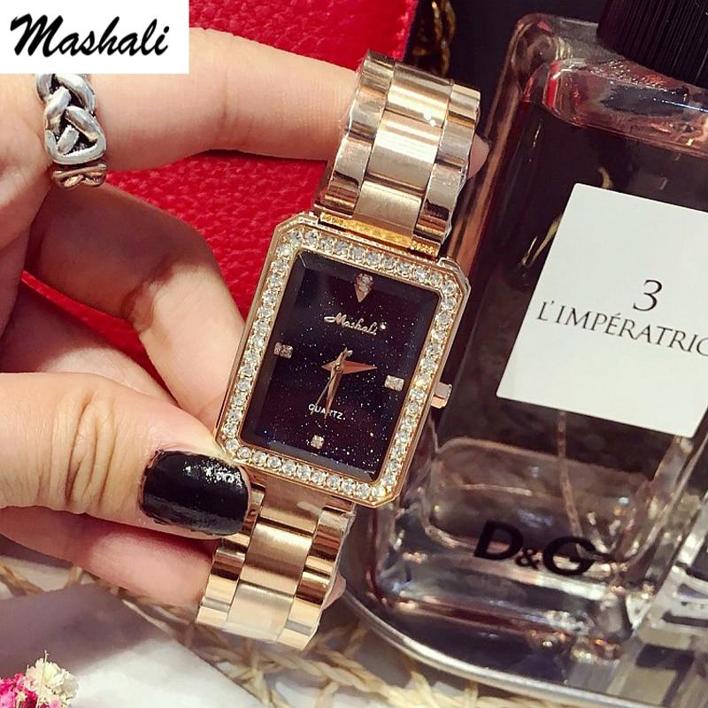Mashali Brand  Fashion  Quartz Watches Women Luxury Rhinestone Case Watch Female Clock Diamond Wristwatch Relojes Mujer<br>