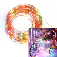 Shipped From US Home-use Copper LED Light Warm White / Colorful / Colorful US Plug Atmosphere Light Garden Decoration Lig(China)