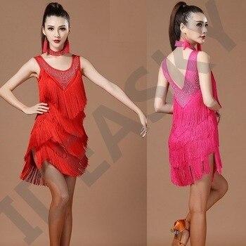 latin dance dress dancing ballroom wear adult salsa tango dress for adults womens ladies competition costume sequin fringe