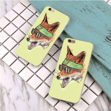 Cool Fox design plastic case For Samsung Galaxy s3 s4 s5 s6 s7 edge phone cover for iphone 5s 5 5c SE 6 6s 7 plus 4 4s(China)