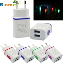 Factory price Binmer Hot Selling Good Quality LED USB 2 Port Wall Home Travel AC Charger Adapter For S7 EU Plug Free Shipping