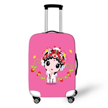 Peking Opera Style Luggage Protective Covers Waterproof Women valise bagages roulettes Cartoon Pink Suitcase Protective Cover