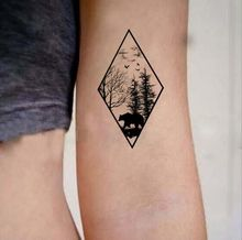 Waterproof Temporary Fake Tattoo Stickers Vintage Geometric Black Forest Bear Tree Design Body Art Make Up Tools