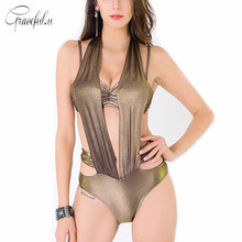Luxury Golden Womens Swim Wear Halter Push Up One Piece Swimsuit Bikini Set High Cut Out Bathing Suit maillot de bain
