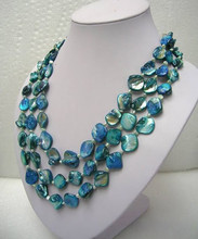 "Jewelry long 60"" 3 rows white freshwater pearl blue mother shell pearl necklace"