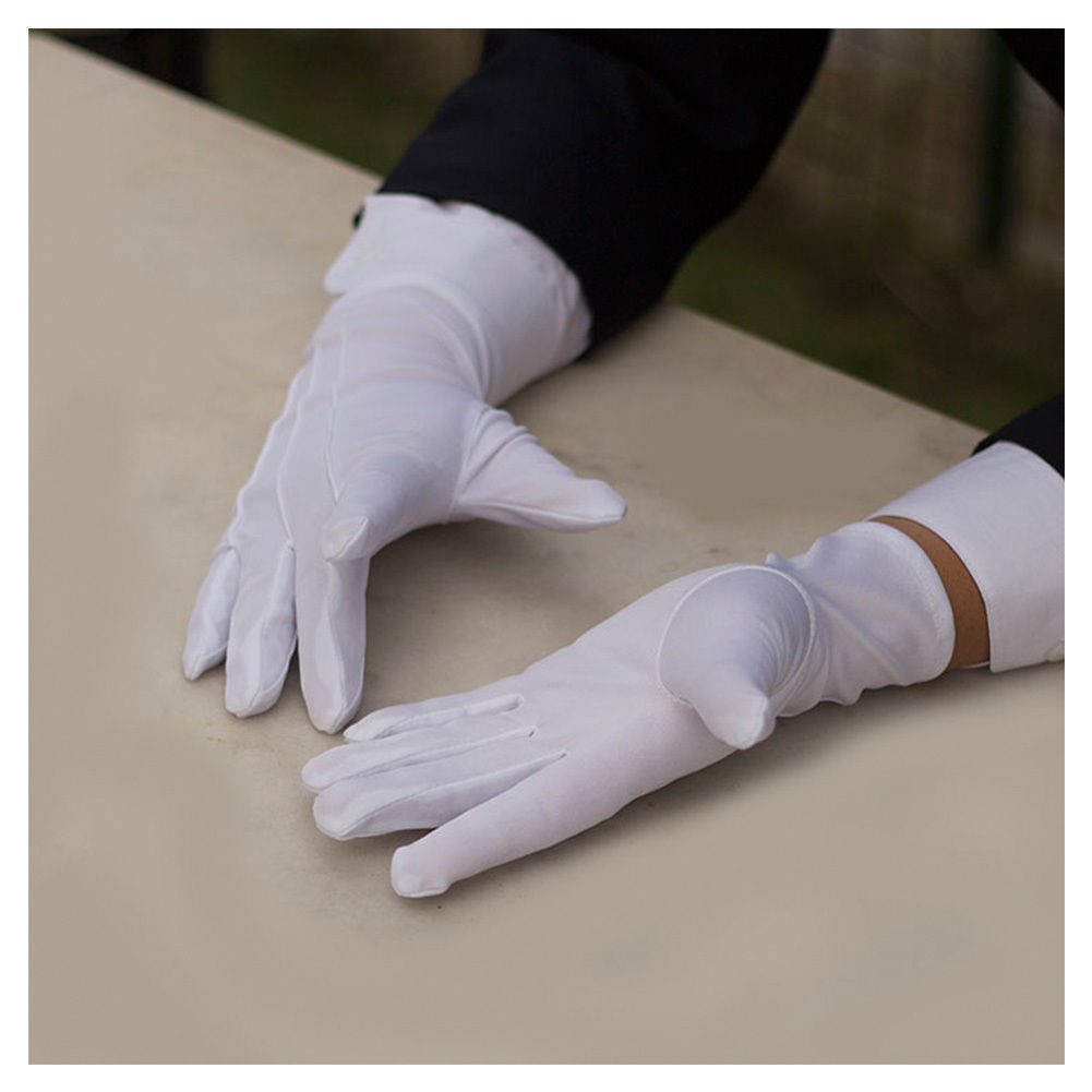 Men/'s White Tuxedo Gloves 100/% Nylon Tuxedo Uniform Police Band Butler FREE SHIP