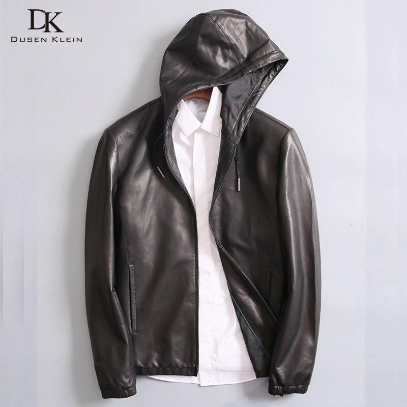 New 2017 Dusen Klein Men Genuine Leather Jacket Spring Outerwear Black/Slim/Simple Business Style/Sheepskin Coat DK7103