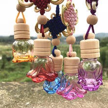 Colorful Glass Rose Perfume Bottle with Wooden Lid Chinese Knot Hang on Vials Scent Bottle Wedding Gift 10pcs/lot P099(China)