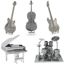 Musical Instruments 3D Metal Puzzle DIY Stainless Steel Assembly Model Toy Magnetic Kids Toys Electric Guitar Cello Bass Puzzle