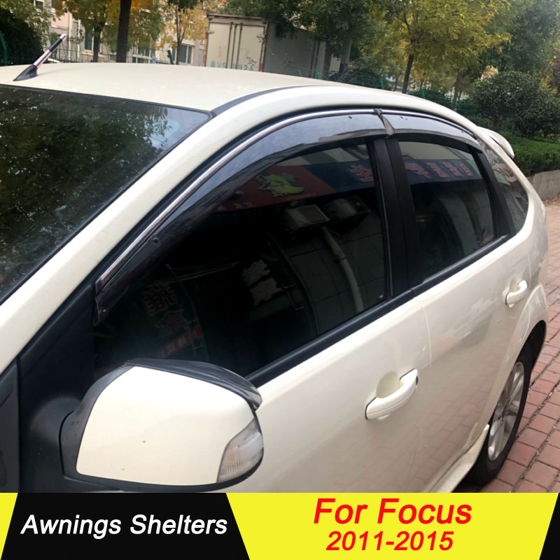Car Window Visor Wind Deflector Vent Sun Shade Rain Guard for Ford Focus2011-17