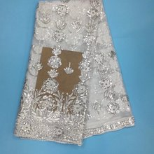 White Nigerian Lace with Silver Sequin Fabric Hojilou For Wedding Dress Tulle Lace Fabric Panic Buying African Dry Lace