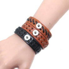3 Colors 12mm Snap Button adjustable Leather Baseball Bracelet DIY Jewelry For Women Retro Braided Lace Bracelet Jewelry 9112