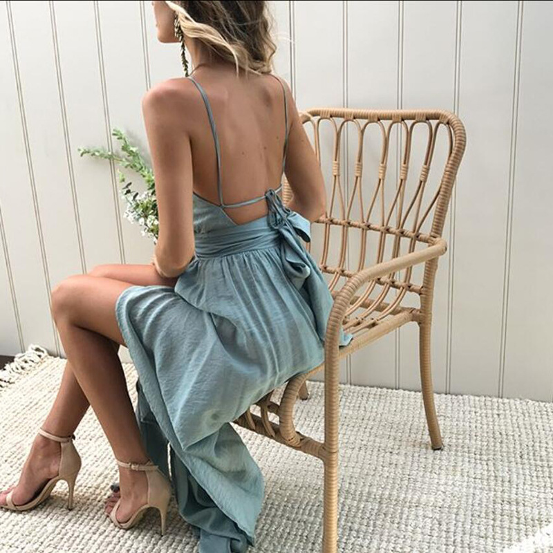 Sexy High Split Halter Vintage Party Elegant Vestidos Boho Style Beach Maxi Dress Women 2018 Summer Backless Bandage Tunic 8
