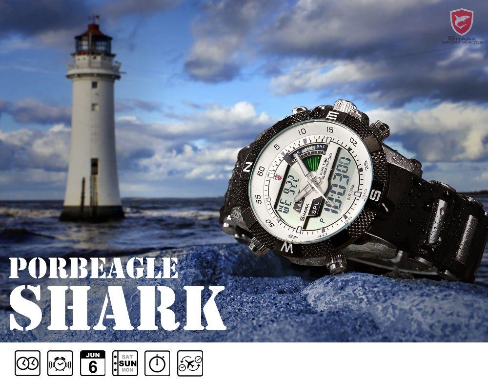 Porbeagleฉลามกีฬานาฬิกาผู้ชายกลางแจ้งแฟชั่นดิจิตอลมัลติฟังก์ชั่วันนาฬิกาจับ 6