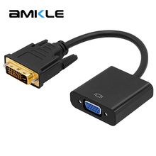 Amkle DVI to VGA Adapter Cable 1080P DVI-D to VGA Cable 24+1 25 Pin DVI Male to 15 Pin VGA Female Video Converter for PC Display(China)