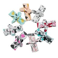 new cotton bowtie  headbands panda cat feather carttoon kids headscarf new born  head decorations kids accessories wear