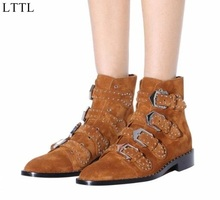 LTTL Factory Designer Shoes Women Studded Ankle Boots Tan Army Green Suede Botas Leather Buckled Motorcycle Booties Size 33-44(China)