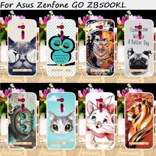 TAOYUNXI Mobile Phone Cases For ASUS ZenFone Go ZB500KL ZB500KG 5.0 inch Cover Plastic TPU Bags Animal Painting Skin Hood(China)
