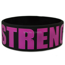 300pcs one inch STRENGTH wristband silicone bracelets free shipping by DHL express(China)