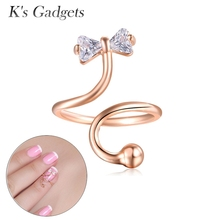Silver Color Bow Nail Ring Jewelry  Adjustable Rings For Women Austrian Crystal Colored Cubic Zirconia Rings