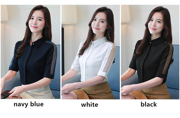MSSNNG Women Tops And Blouses 2018 New White Blouse Shirt Fashion Mesh Short Sleeve Shirts Casual Loose Ladies Clothing Summer Top (5)