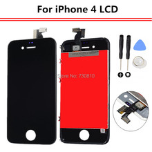 Hot Sale New White and Black Outer Glass + LCD Display  + Touch Screen Digitizer Assembly + Tools Replacement  for iPhone 4 4G