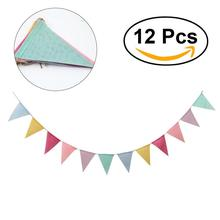 12pcs Pennants Burlap Flag Birthday Party Christmas Holiday Hanging Decoration Natural Hessian Burlap Banner Rustic
