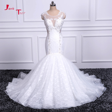 Jark Tozr 2018 New Listing Open Back Beaded Crystal Tulle Lace Mermaid Wedding Dresses Real Picture Vestido De Noiva Sereia(China)