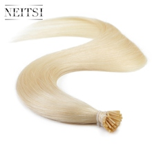 "Neitsi 100% Indian Remy Hair I tip Keratin Human Hair Extensions 20"" 1g/s 50g 613# Stick Tip Straight Hair(China)"