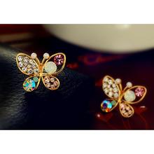 Hollow Luxury Bright Colorful Cystal Simulated Pearl Butterfly Earrings  Bohemian Earrings Bijuteria Feminina