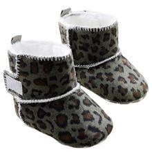 abcd Fashion brand Children Baby shoes slippers Snow Boots Soft Crib Toddler Leopard Boots Kids First Walkers For Girl Boy(China)