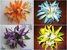 New  FREE SHIPPING+KLS31005A  100pcs/lot    15x15cm 10COLORS MIXED  7pcs Felt  Spider lily hair clip  Hawaii hair flowers