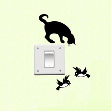 Light Switch Wall Sticker Socket Vinyl Home Decor Cat Birds Animal Sticker 3SS0035