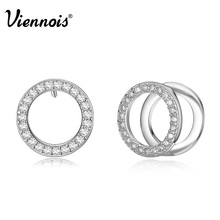Viennois Rose Gold & Silver Color Double Circle Stud Earrings for Woman Rhinestone Paved Round Earrings(China)